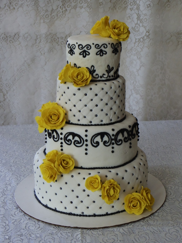 black and white with yellow roses